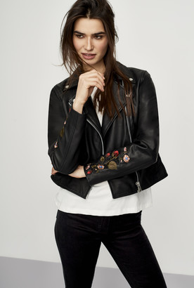 Y.A.S Tall Ruba Embroidered Leather Jacket