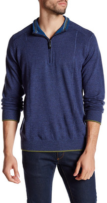 Robert Graham Baines Long Sleeve Front Zip Wool Pullover $268 thestylecure.com