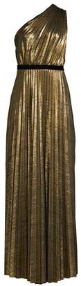 BCBGMAXAZRIA Metallic One-Shoulder Pleated Dress