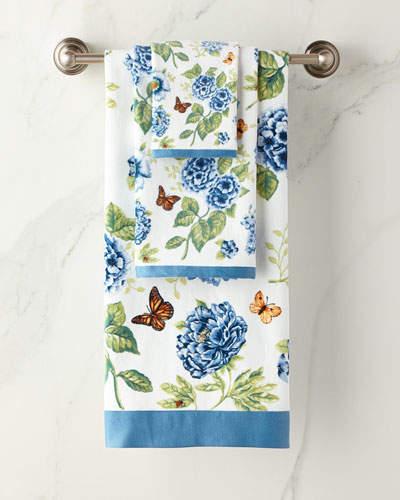 Blue Flower Garden Hand Towel