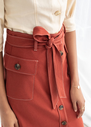 And other stories Belted A-Line Workwear Midi Skirt