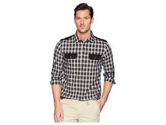 Calvin Klein Jeans Solid Pocket Flap Nebraska Check Button Down Shirt