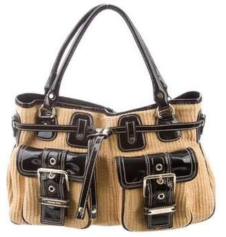 MICHAEL Michael Kors Patent-Leather Trim Straw Shoulder Bag