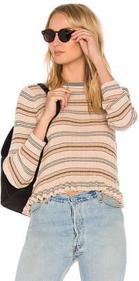 Derek Lam 10 Crosby Sheer Striped Crewneck Sweater