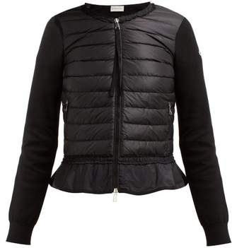 Moncler Quilted Panel Zip Through Cotton Cardigan - Womens - Black