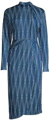 BOSS Ejarra Two-Tone Rhombus Jacquard Sheath Dress