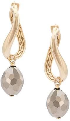John Hardy Adwoa Aboah 18kt Yellow Gold And Pyrite Twisted Hoop Drop Stone Earrings