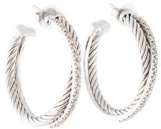 David Yurman Diamond Crossover Medium Hoop Earrings
