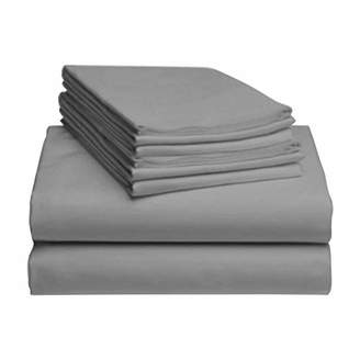 "+Hotel by K-bros&Co LuxClub 6 PC Sheet Set Bamboo Sheets Deep Pockets 18"" Eco Friendly Wrinkle Free Sheets Hypoallergenic Anti-Bacteria Machine Washable Hotel Bedding Silky Soft - Light Grey Queen"