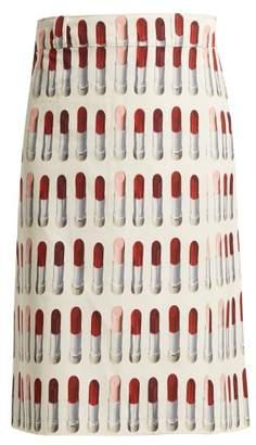 Prada Lipstick Print Wrap Midi Skirt - Womens - White Print