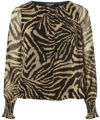 Dorothy Perkins Womens **Billie & Blossom Gold Zebra Print Mesh Batwing Top