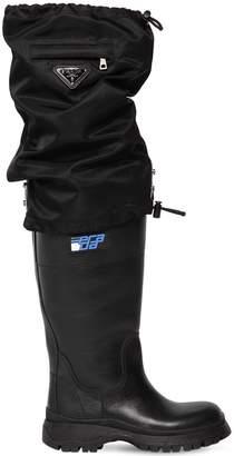 Prada 30mm Leather & Nylon Rain Boots