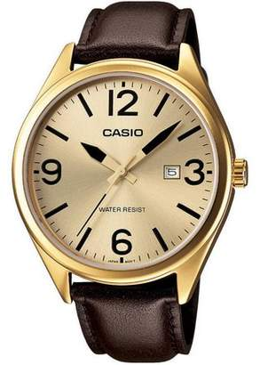 Casio Men's Casual Analog Watch, Brown Leather Strap