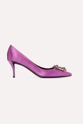 Roger Vivier Flower Strass Crystal-embellished Satin Pumps - Magenta