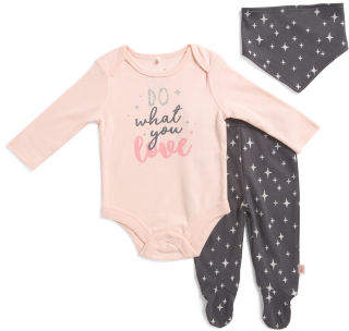 Newborn Girls 3pc Pant Set & Headband
