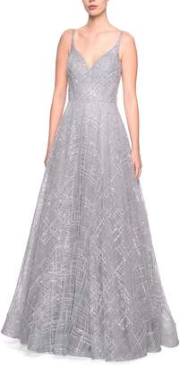 La Femme Sequin Evening Dress