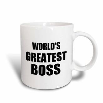 Boss Black 3dRose Worlds Greatest text. great design for the best boss ever, Ceramic Mug, 15-ounce