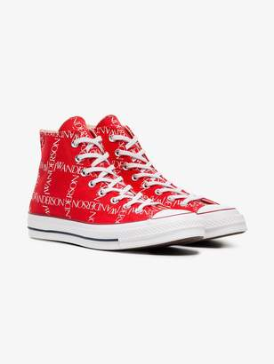 Converse x JW Anderson Red Logo Print Sneakers