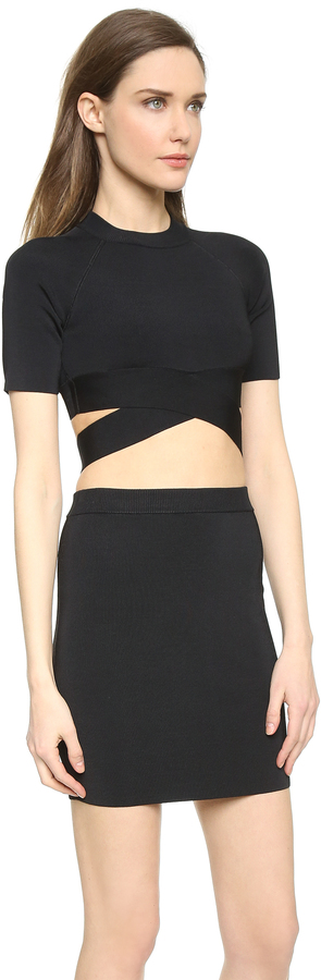 Alexander Wang Stretch Rayon Crisscross Short Sleeve Top