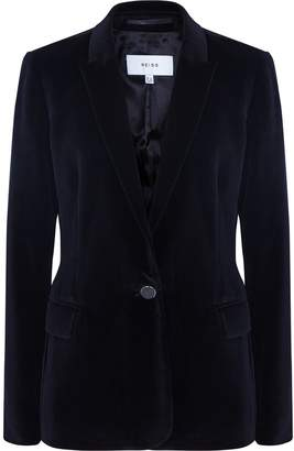 Reiss Brie - Velvet Blazer in Black