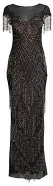 Parker Black Braxton Short-Sleeve Beaded Gown