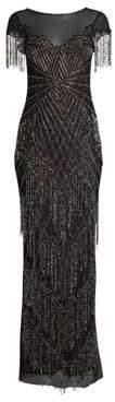 Parker Black Braxton Short-Sleeve Beaded Gown