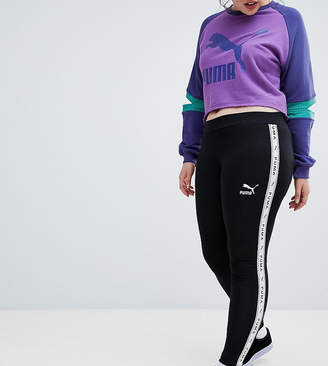 Puma Exclusive To ASOS Plus Taped Side Stripe Leggings In Black