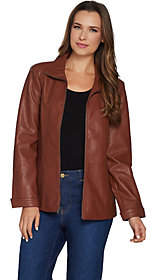 Denim & Co. Faux Leather Zip Front Jacket withSeaming Detail