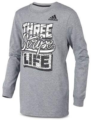 adidas Boys' Three Stripe Life Tee - Little Kid