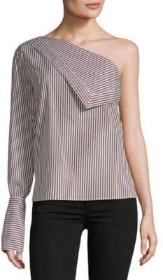 Reggies Striped One-Shoulder Top