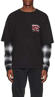 ADAPTATION Men's Flannel-Inset Staff T-Shirt - Black