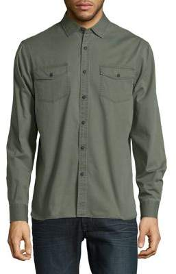 Black & Brown Black Brown Solid Button-Down Shirt