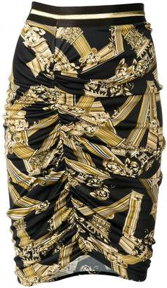 Versace ruched printed pencil skirt