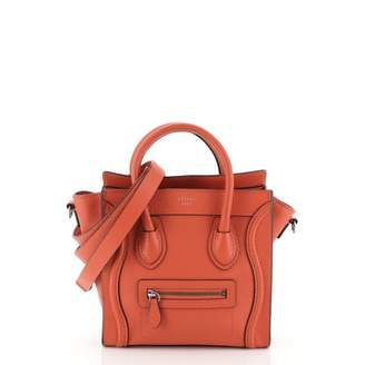 Celine Nano Luggage Red Leather Handbags
