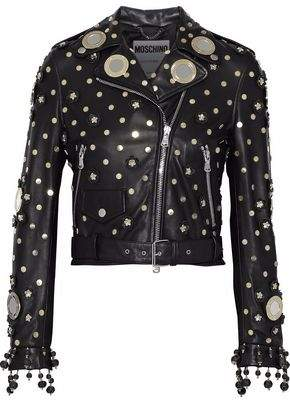 Moschino Embellished Leather Biker Jacket
