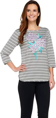 Bob Mackie Bob Mackie's Floral Embroidered Striped Knit Top