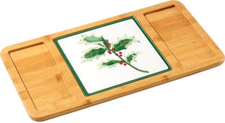 Precious Moments Celebrations by Bamboo 2-Piece Serving Tray with Holly Cutting Board