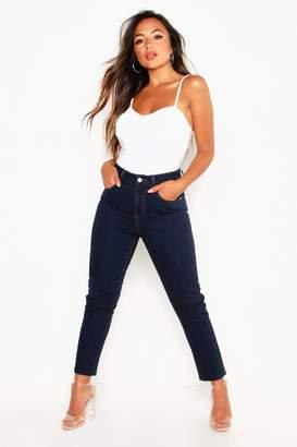 boohoo Petite Straight Leg Frayed Hem Jeans