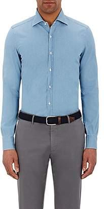 Isaia Men's Leuca Cotton Twill Shirt - Blue