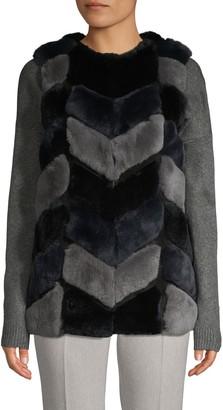 Belle Fare Colorblock Chevron Rabbit Fur and Leather Vest