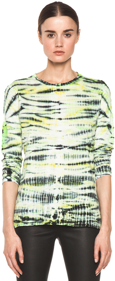 Proenza Schouler Tie Dye Long Sleeve Tee in Mint & Sulphur & Black