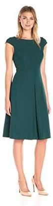 Lark & Ro Women's Cap Sleeve Inverted Pleat Midi Dress
