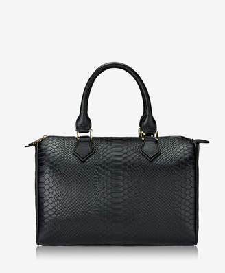 GiGi New York Brooke Barrel Bag Black Embossed Python