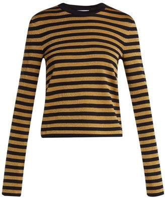 Saint Laurent Striped Long Sleeve Sweater - Womens - Navy Gold