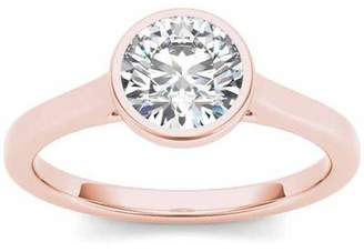 Imperial Diamond Imperial 1 Carat T.W. Diamond Solitaire Bezel-Set 14kt Rose Gold Engagement Ring