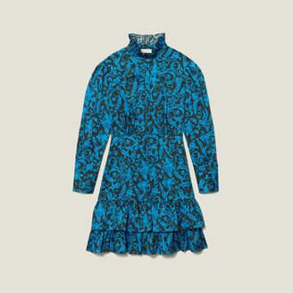 Sandro Printed dress with ruffles & high collar