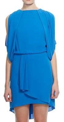 Halston Short Sleeve Crepe Open-Back Dress