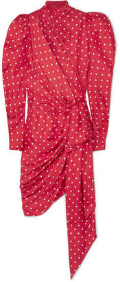 Alexandre Vauthier Asymmetric Polka-dot Silk-twill Mini Dress - Red