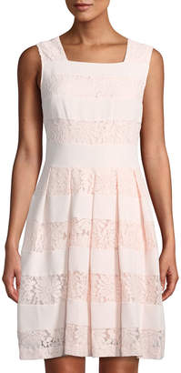 Karl Lagerfeld Paris Lace-Striped Square-Neck Fit-&-Flare Dress