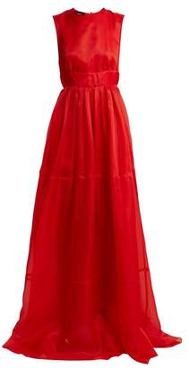 Rochas Tie Neck Silk Organza Gown - Womens - Red
